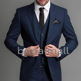Navy Blue Formal Wedding Men Suits 2019 Three Piece Notched Lapel Custom The Best Man Business Groom Wedding Tuxedos (Jacket + Pants + Vest)