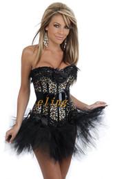 Ladies Sexy Lingerie Leopard Satin Lace Up Basque Corset Separate Mini Skirt Fancy Dress 2186 S-XXL