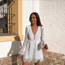 2019 New Fashion Long Sleeves Lace Short Party Dresses A Line Deep V Neck Short Mini Cocktail Club Gowns Summer Boho Holiday Wears 2409