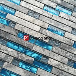 Blue glass wall tile SGMT026 grey stone bathroom tiles glass stone mosaic kitchen backsplash tiles