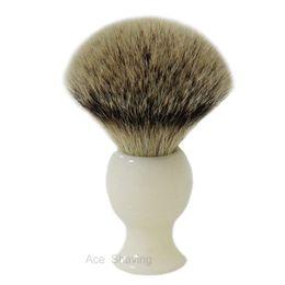 Big Size Silvertip Badger Hair White Resin Handle Beard Brush Shaving Brush for Men knot size 25mm