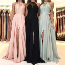 Cheap 2019 Elegant Halter Chiffon Long Bridesmaid Dresses Lace Applique Split Wedding Guest Dress Maid Of Honor Dresses BM0267