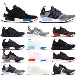 2019 NMD Runner R1 Primeknit Running Shoes Mens Womens Stripes Black Blue Glow Trainer Sport Sneaker Designer Shoe With Box