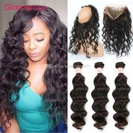 Glamorous Malaysian Virgin Hair 360 Full Lace Frontal Closure with 3 Bundles 4Pcs Lot Brazilian Indian Peruvian Natural Wave Remy Human Hair