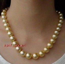 18 Inch 12-13mm Natural Round South Sea Golden Pearl Necklace 14k Gold Clasp