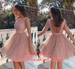 Blush Pink Sequins Lace Homecoming Prom Dresses 2020 Sexy Backless A Line Short Graduation Club Gowns Mini Little Cocktail Party Dresses