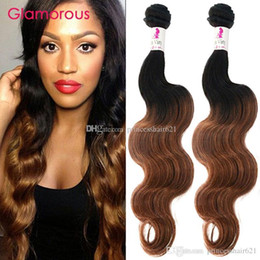 Glamorous Ombre Brazilian Human Hair Extensions 2Bundles Two Tone Color #1B 30 Ombre Peruvian Malaysian Indian Body Wave Straight Hair Weave