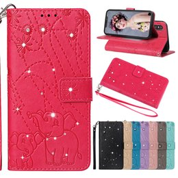 Imprint Printed Embossed Elephant Diamond PU Leather Wallet Case Back Cover Pouch With Card Slot strap For iPhone X 6.5 Xr Xs Max 7 8 plus