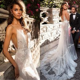 Spaghetti Straps Mermaid Beach Wedding Dresses 2019 Vestido De Novia Lace Ivory Backless Plus Size Bridal Gowns