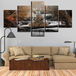 Canvas HD Prints Posters Home Decor Wall Art Painting 5 Panels abstract buddha Pictures For Living Room Framework