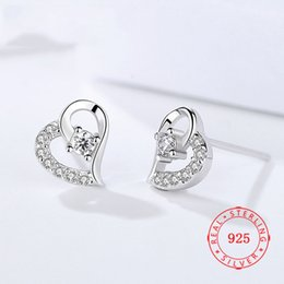 fashionable cute 925 sterling silver clear cz diamond heart women stud earring low prices China wholesale