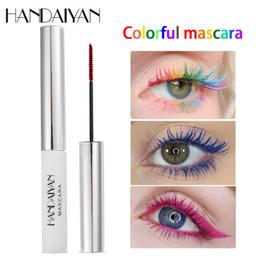Brand HANDAIYAN Colored colorful Mascara Waterproof eye makeup Mascara Cream Blue White Red Black Purple Eyelashes for Party Use
