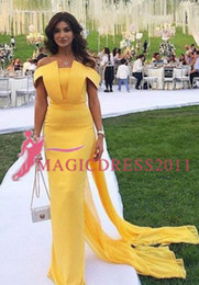 2019 Yellow Mermaid Prom Dresses Off The Shoulder Evening Dress Black Girl Party Gowns Off The Shoulder Ruched Style