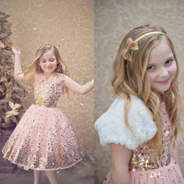 Sparkly Blush Sequined Flower Girl Dresses A Line Crew Neckline Tea Length Tulle Little Girls Pageant Dress