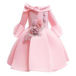 Retail Baby Girl embroidered dress flower girls dresses Off shoulder princess pageant dress designer Party formal prom dresses boutique