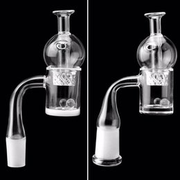 Beveled Edge Quartz Banger With Glass Spinning Carb Cap Pearls 10mm14mm18mm 45 90 Opaque Gavel Nails For Glass Water Bongs Pipes Dab Rigs