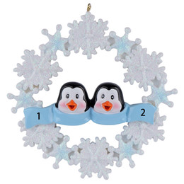 Maxora Penguin Family Of 2 3 4 5 Resin Hang Christmas Ornaments With Snowflake As Craft Souvenir For Personalized Gifts or Home Decor