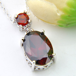 Luckyshine up-to-date 12 piece Lot unique Oval Topaz crystal Gems 925 silver plated pendant for Lady Holiday Gift Necklace Pendant 7 Color