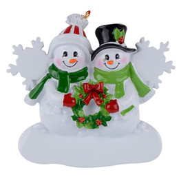 Snowman Family Of 2 resin hanging Christmas ornaments with glossy as craft souvenirs for personalized gifts or home decorations