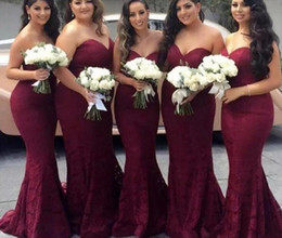 Elegant Burgundy Sweetheart Lace Mermaid Cheap Long Bridesmaid Dresses 2019 Wine Maid of Honor Wedding Guest Dress Prom Party Gowns