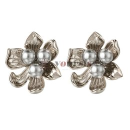 Yoursfs Simulated Pearl Blossom Flower Clip on Earrings for Women Silver Gold Plated Unique Retro Style Earring