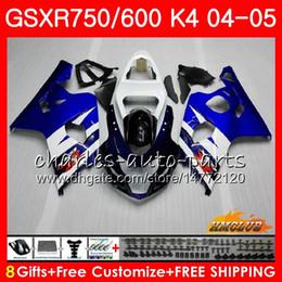 Bodywork For SUZUKI GSXR 750 GSX R750 GSX-R600 GSXR600 04 05 7HC.12 GSXR-750 Stock blue hot GSXR 600 04 05 K4 GSXR750 2004 2005 Fairing kit