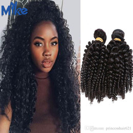 MikeHAIR Brazilian Remy Hair Extensions 100% Human Hair Wefts 2 Bundles Indian Peruvian Cambodian Mongolian Kinky Curly Hair Weaves 8-30Inch