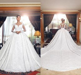 Luxury Arabic Middle East Style Long Sleeves Lace Ball Gown Wedding Dresses 2019 Tulle Applique Chapel Train Wedding Bridal Gowns BC0338