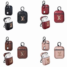 For Apple Airpods Case Luxury PU Leather Protective Cover Hook Clasp Keychain Anti Lost Fashion Earphone Cases Protector For gifts