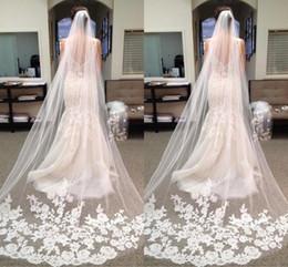 Best Selling Chapel Length Bridal Veils with Appliques In Stock Long Wedding Veils 2019 Vestido De Noiva Longo Wedding Veil CPA219