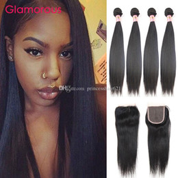 Glamorous Brazilian Peruvian Indian Malaysian Virgin Hair Weft Natural Color Straight Human Hair Weaves with 4*4 Top Lace Closure 5Pcs Lot