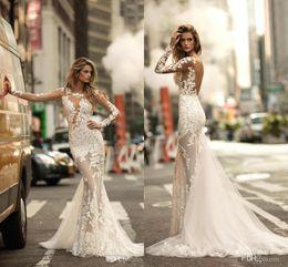 Berta 2020 Sexy Long Sleeves Beach Mermaid Wedding Dresses Sheer Full Lace Appliqued Bridal Dress See through Backless Bridal Gowns