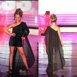 Black One Shoulder Girls Pageant Dresses 2020 Chiffon Lace Appliqique Jumpsuit Children Graduation Dress Flower Girls Dresses BC2269