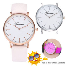 Relojes solares Ginebra Luz solar Cambio de color Blanco Moda Cuarzo reloj de pulsera analógico vintage termocromático Temperatura Reloj descolorido