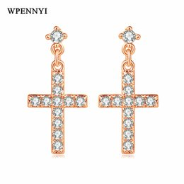Rose Gold Color Classic Cross Design Rhinestones Fully Inlaid Fashion Woman Stud Earrings Wholesale Gift