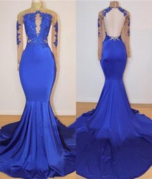 2019 New Arrival Royal Blue Mermaid Prom Dresses Vintage Arabic Long Sleeves Sheer Appliques Open Back Long Evening Gowns BC0717
