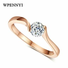 Top Quality Rose Gold Color Hearts & Arrows 4mm 0.25ct Round Cubic Zirconia Classic Simple Women Engagement Rings Birthday Gift