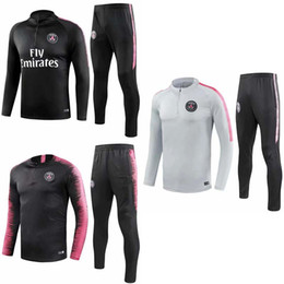 Top quality PSG adult Soccer tracksuit set S-3XL 2018 2019 Paris tracksuits 18 19 MBAPPE LUCAS HOME Football jacket kit psg Training suit