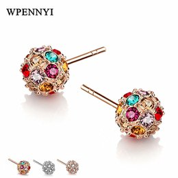 Top Quality Multicolour Zirconia Crystal Fully Paved 8mm Lucky Round Ball Style Fashion Woman Stud Earrings 3 Colors Wholesale
