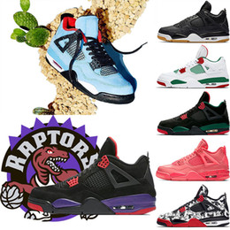 4 Raptors Tattoo Hot Punch basketball shoes Travis Scott 4s Cactus Jack Pure Money Pizzeria Black Cat Gum Men sneakers trainers sports shoes