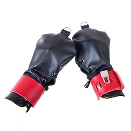 Black & Red Adjustable Lacing Lockable Fingerless Glove BDSM Fist Bondage Hands Restraint Gear Sex Positioning Kit