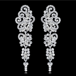New Party Prom Earrings Bridal with Crystals Rhinestones Water Drop Earring Bridal Jewelry Findings Wedding Accessories For Brides