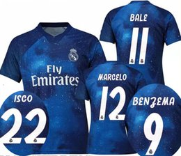 18 19 Real Madrid EA sports digital special version blue soccer jerseys BALE ISCO BENZEMA 2018 player's football tops adult's sports jerseys