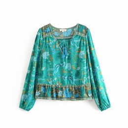 NEW WOMEN CLOTHING FASHION ROUND COLLLAR FULL GREEN FLOWER AND PHOENIX PRINT BLOUSE LONG SLEEVE WHITE LADY SHIRT