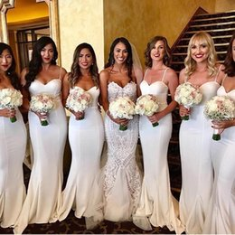 White Spaghetti Straps Satin Mermaid Bridesmaid Dresses Ruched Sweep Train Wedding Guest Maid of Honor Dresses