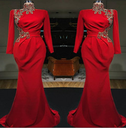 Red Arabic High Neck Mermaid Long Evening Dresses 2019 Long Sleeves Satin Ruched Lace Applique Formal Party Muslim Prom Dresses