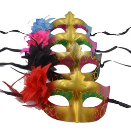 Masquerade Party Venetian Masks - 12pcs Luxury Flower Aside Half Face Sexy Woman Dance Party Masks Wedding Props mix color