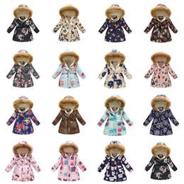 Retail 37 styles kids coats Winter boys girls warm thicken floral printed long fur collar hooded down jacket fur coat kids designer clothing