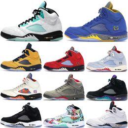 2020 Jumpman Island Green 5 5s mens basketball shoes Michigan oreo wings white cement black metallic OG fashion luxury designer men shoes