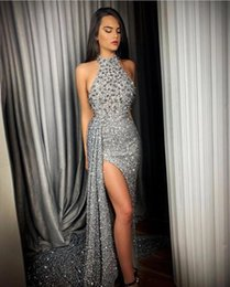 Sparkly Silver robe de soiree Sequin Beaded Mermaid Prom Dresses 2020 Halter Ruched High Split Sweep Train Formal Party Evening Gowns BC2744